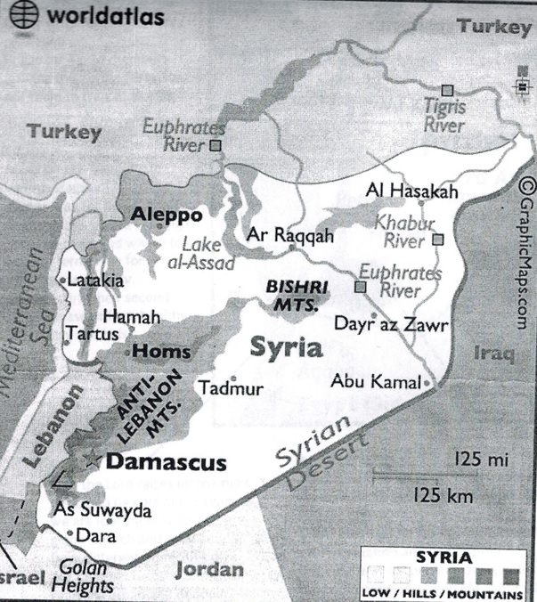 Present map of Syria